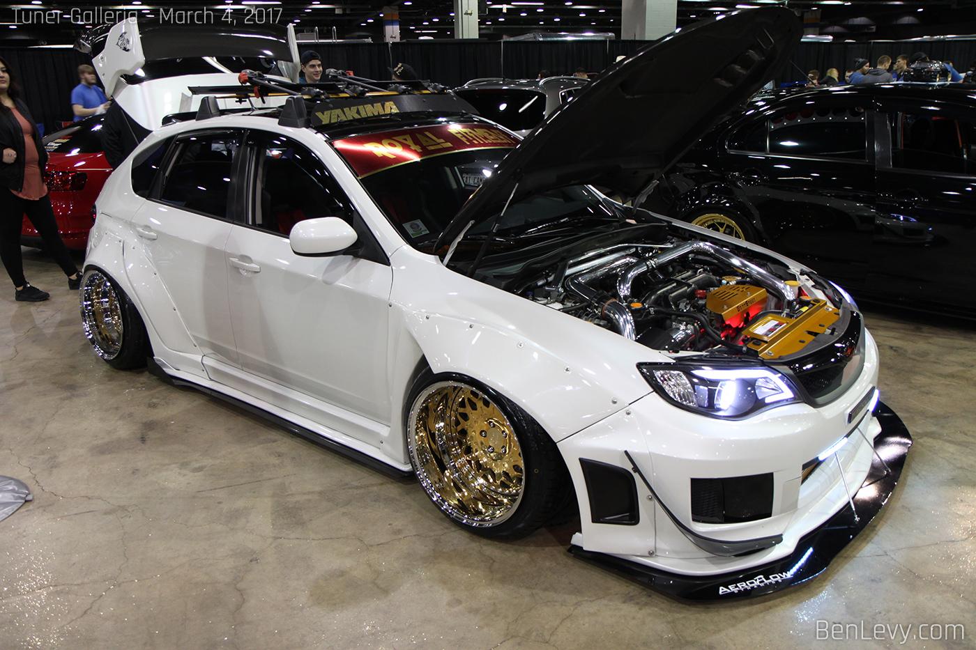 White WRX hatchback