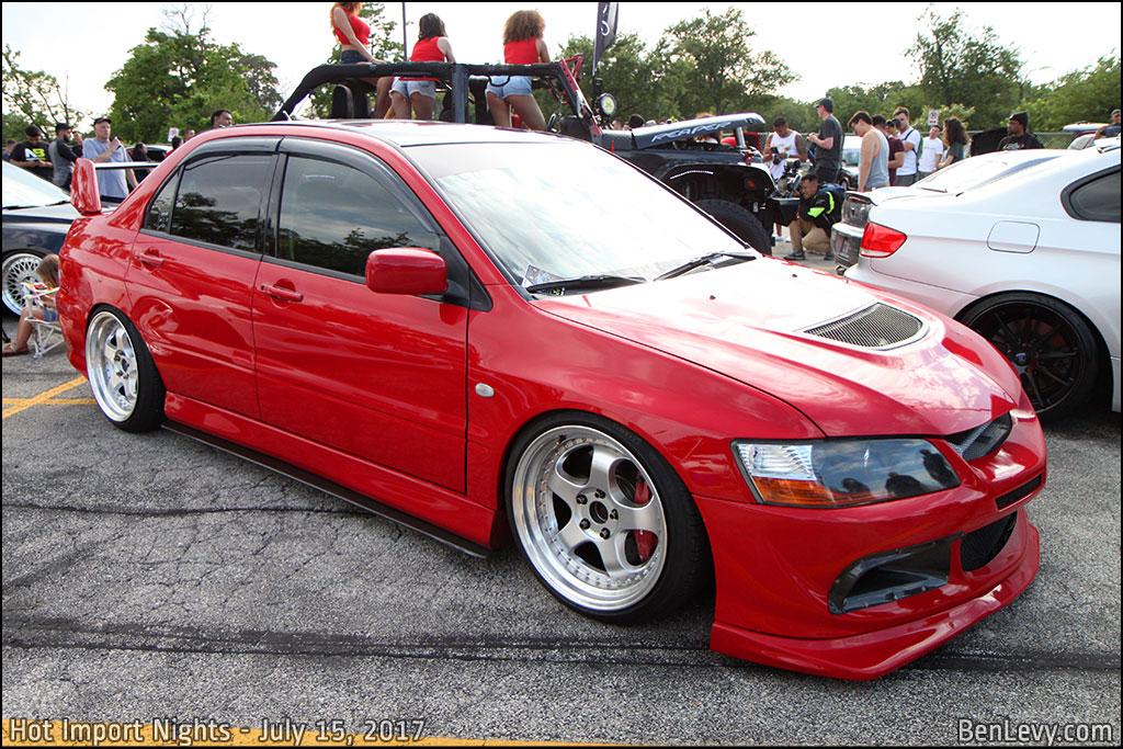 Red Mitsubishi Lancer Evo