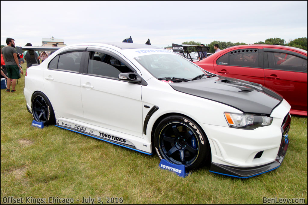 white evo x with volk racing wheels. Black Bedroom Furniture Sets. Home Design Ideas