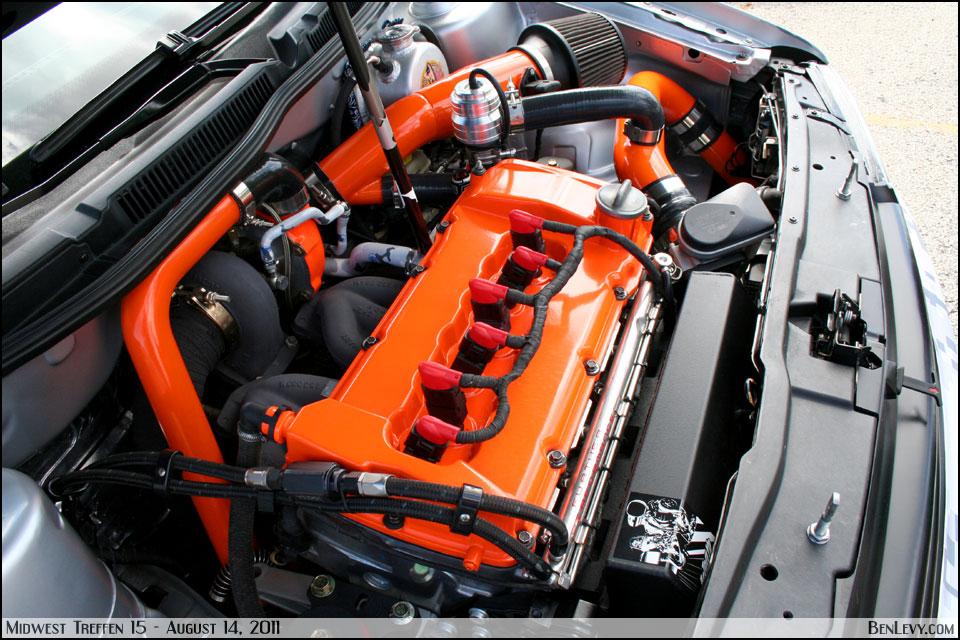 VR6 Engine with orange valve cover - BenLevy.com