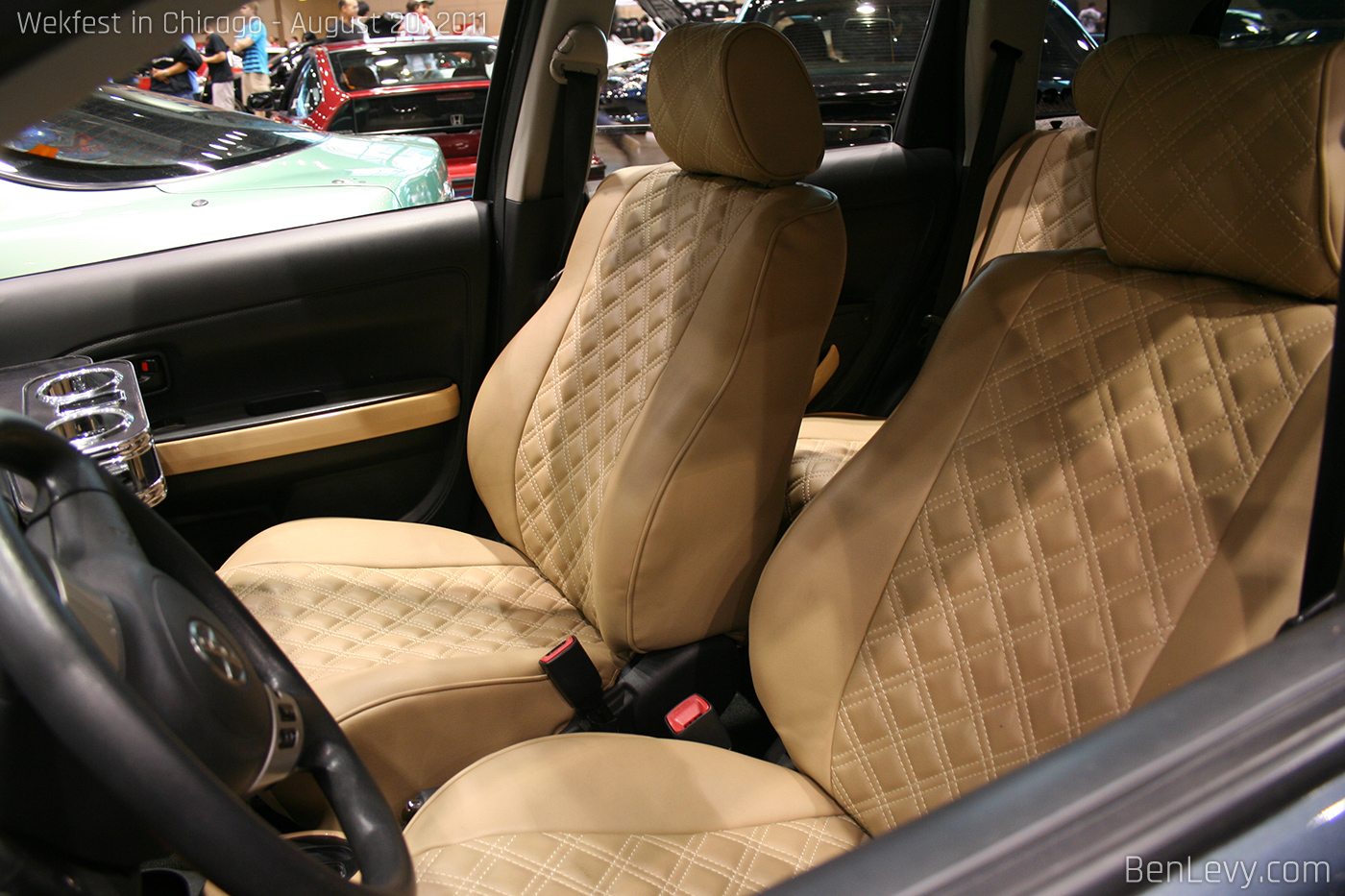 custom leather seats in scion xa. Black Bedroom Furniture Sets. Home Design Ideas
